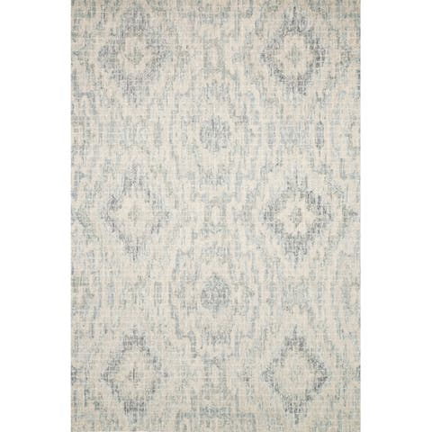 Alexander Home Transitional Hand-hooked Grey/ Blue Ikat Wool Area Rug (7'9 x 9'9) - 7'9 x 9'9