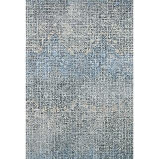 "Alexander Home Indigo Blue Wool Hand-hooked Transitional Abstract Mosaic Rug (7'9 x 9'9) - 7'9"" x 9'9"""