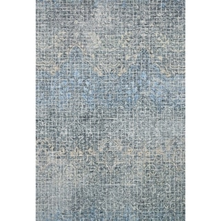 "Alexander Home Indigo Blue Wool Hand-hooked Transitional Abstract Mosaic Rug (7'9 x 9'9) - 7'9"" x 9'9"""