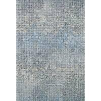 Alexander Home Indigo Blue Wool Hand-hooked Transitional Abstract Mosaic Rug - 7'9 x 9'9