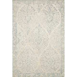 "Alexander Home Cream/Blue Wool Damask Mosaic Hand-hooked Area Rug (7'9 x 9'9) - 7'9"" x 9'9"""
