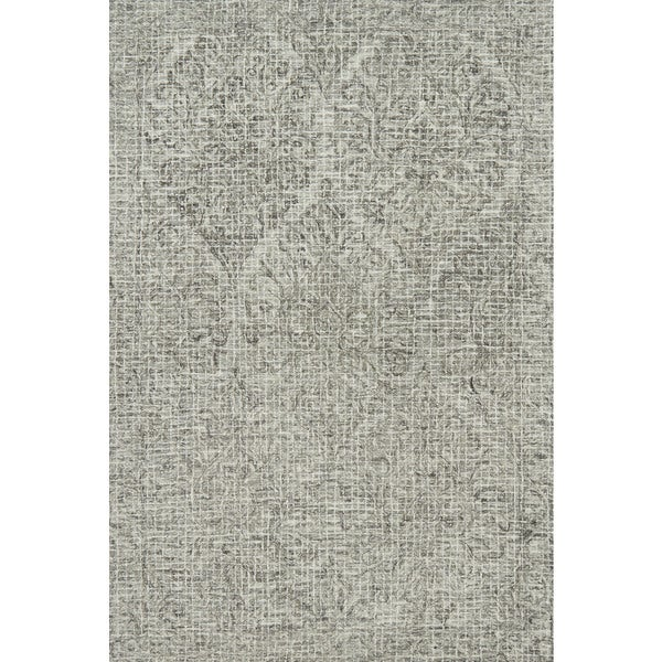 Alexander Home Hand Hooked Damask Mosaic Grey Wool Area Rug 7 X27