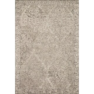 Hand-hooked Transitional Grey/ Taupe Damask Mosaic Rug (7'9 x 9'9)