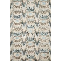 Alexander Home Turquoise Wool Ikat Mosaic Hand-hooked Area Rug (7'9 x 9'9)