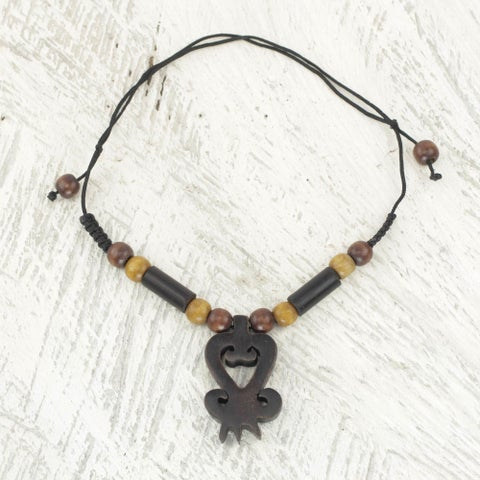 Handmade Ebony Bamboo Wood 'Return' Necklace (Ghana)