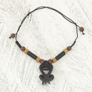 Handmade Ebony Bamboo Wood 'Return' Necklace (Ghana)