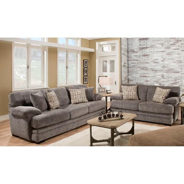 Shop Sofatrendz Foxy Grey Sofa Loveseat 2 Pc Set Free Shipping