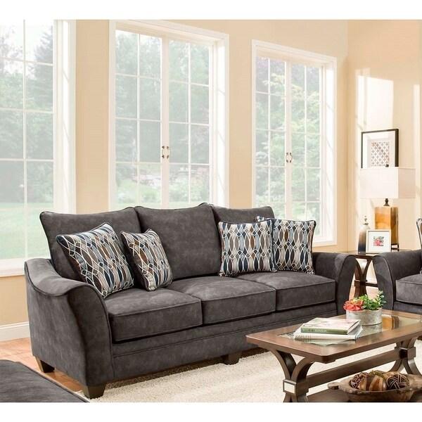 SofaTrendz Elodie Grey Microfiber Sofa