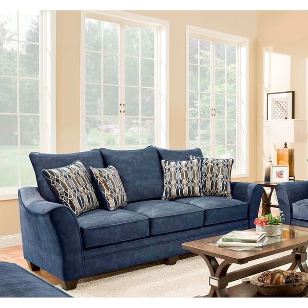SofaTrendz Edmond Navy Blue Microfiber Sofa
