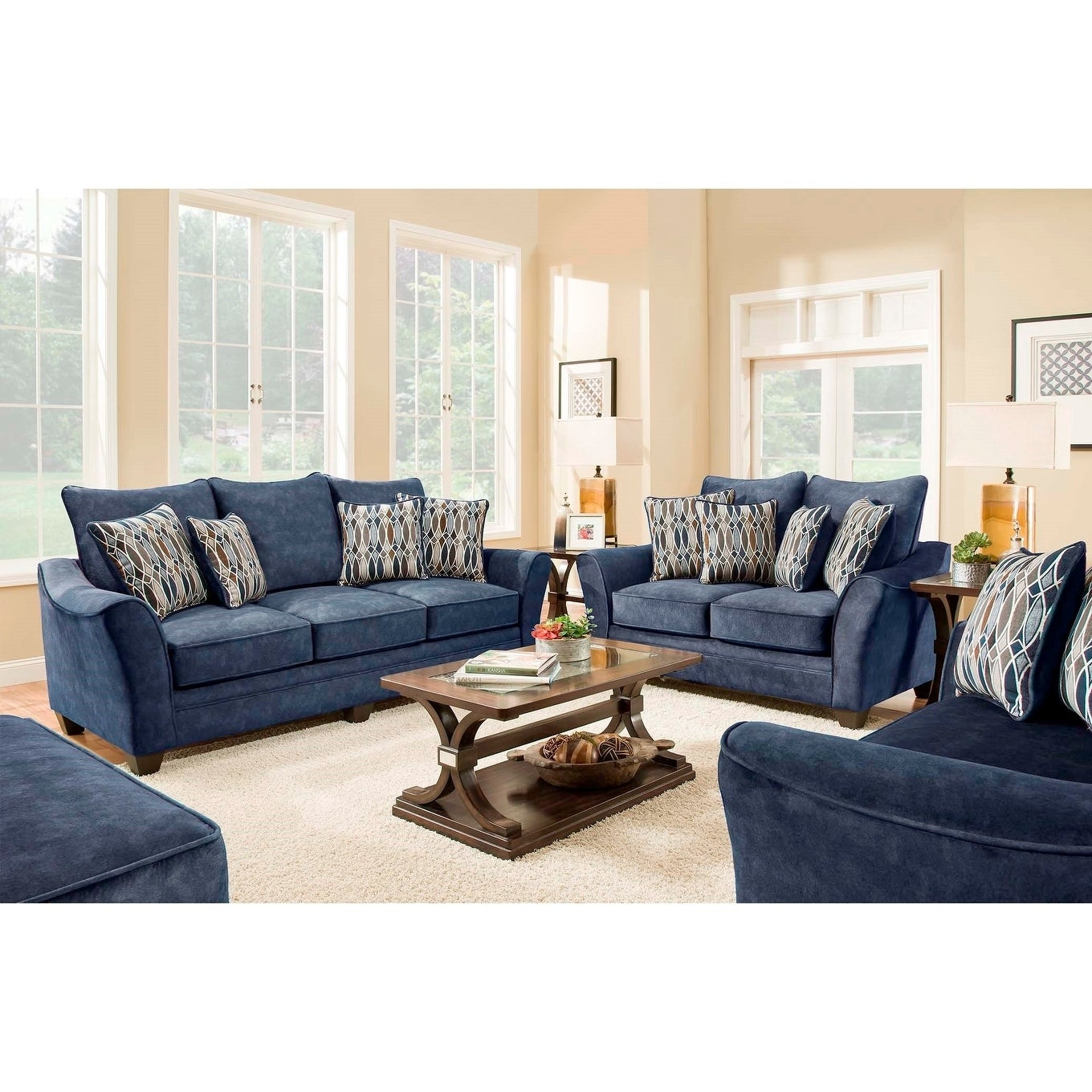 SofaTrendz Edmond Navy Blue Sofa & Loveseat 2-pc Set