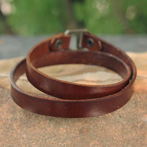 Handmade Men's Leather 'Enigma in Brown' Bracelet (Thailand)