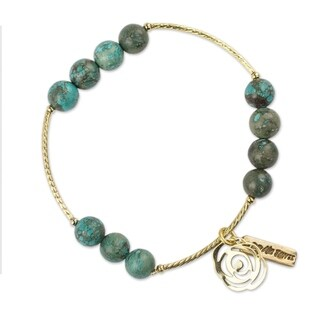 Handmade Gold Overlay 'Rose of the Valley' Turquoise Bracelet (Mexico)