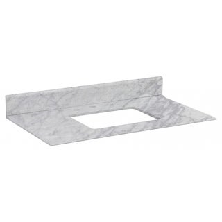 36-in. W X 19.5-in. D Marble Top In Bianca Carara Color For 3H8-in. Faucet