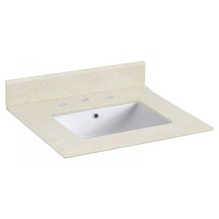 23.5-in. W X 19.5-in. D Marble Top With Backsplash In Beige Color For 3H8-in. Faucet - White UM Sink