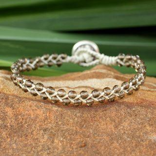 Handmade Leather Silver 'Braids of Joy' Quartz Bracelet (Thailand)