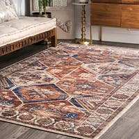 nuLOOM Rust Honeycomb Floral Border Traditional Area Rug