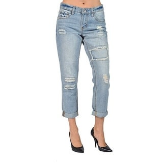 Doll House Womens Jeans Light Washed Ripped Denim