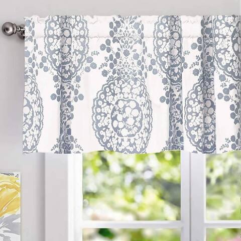 DriftAway Samantha Pastel Damask Printed Classic Window Valance