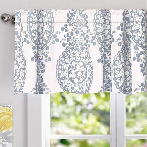 The Curated Nomad Alameda Pastel Damask Printed Classic Window Valance