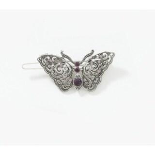1928 Jewelry Silver Tone Amethyst Crystal Butterfly Barrette