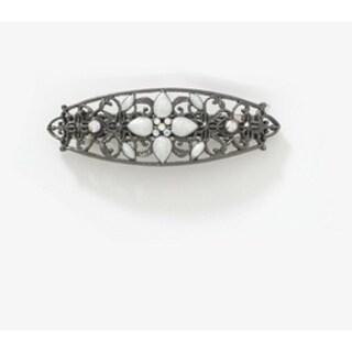 1928 Jewelry Black Tone Crystal AB and White Enamel Barrette