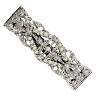 1928 Jewelry Silver Tone Simulated Pearl and Crystal Hair Barrette