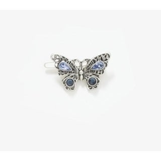 1928 Jewelry Silver Tone Light Sapphire and Montana Blue Crystal Butterfly Barrette