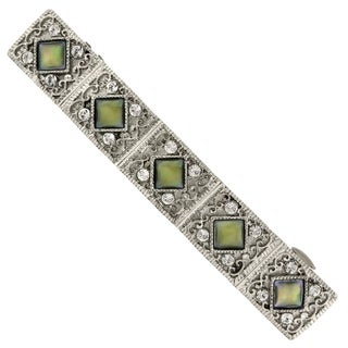 1928 Jewelry Silver Tone Crystal and Mother of Pearl Bar Barrette