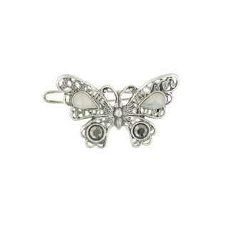 1928 Jewelry Silver Tone Opal and Black Diamond Crystal Butterfly Barrette
