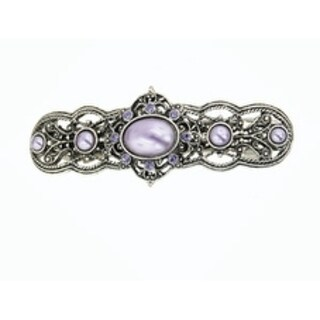 1928 Jewelry Silver Tone Tanzanite Crystal and Purple Color Stone Bar Barrette