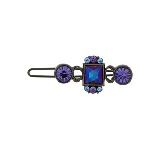 1928 Jewelry Black Tone Amethyst Color and Light Sapphire Color Crystal Barrette