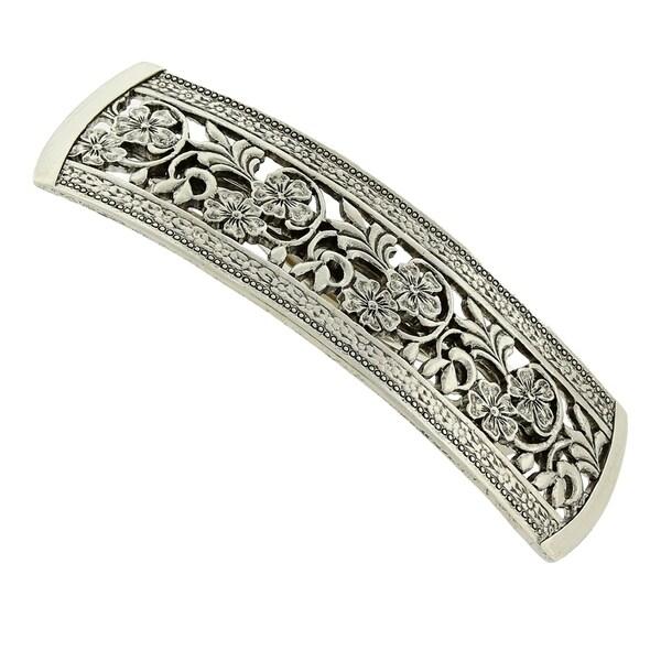 1928 Jewelry Silver Tone Flowers Bar Barrette