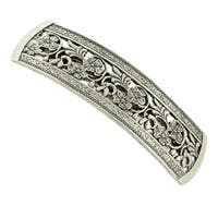 1928 Jewelry Silver Tone Flowers Bar Barrette