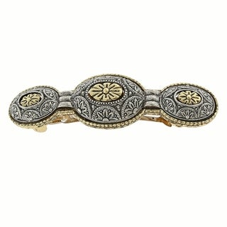 1928 Jewelry Gold Tone and Silver Tone Floral Hair Barrette