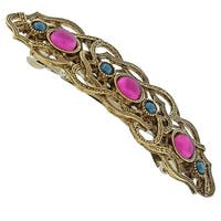 1928 Jewelry Gold Tone Purple and Montana Blue Crystal Barrette