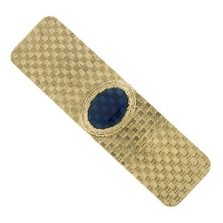 1928 Jewelry Gold Tone Dark Blue Enamel Hair Barrette