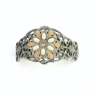 1928 Jewelry Silver Tone Ivory Color Flower Ponytail Barrette with Swarovski Elements Crystals