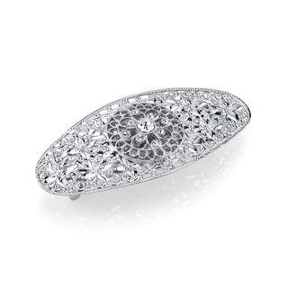 1928 Jewelry Silver Tone Filigree Crystal Oval Barrette