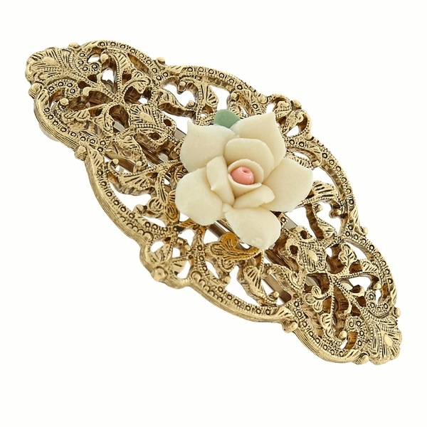 1928 Jewelry Gold Tone Ivory Porcelain Rose Barrette
