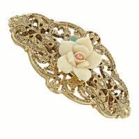 1928 Jewelry Gold Tone Ivory Porcelain Rose Barrette