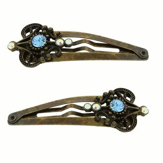 1928 Jewelry Gold Tone Aquamarine Color Crystal and Crystal AB Hair Clips