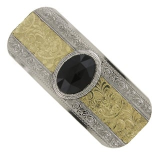 1928 Jewelry Silver Tone and Gold Tone Black Faceted Hair Barrette