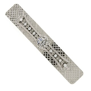 1928 Jewelry Silver Tone Crystal Bar Barrette