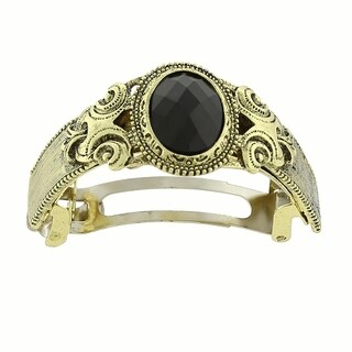 1928 Jewelry Gold Tone Black Stone Ponytail Holder