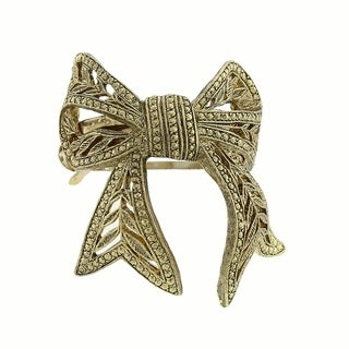 1928 Jewelry Gold Tone Bow Ponytail Holder