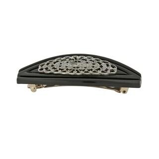 1928 Jewelry Black with Silver tone Filigree Hair Barrette