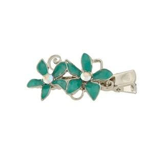 1928 Jewelry Silver Tone Crystal AB and Aqua Blue Enamel Flower Hair Clip