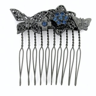 1928 Jewelry Black Tone Floral Small Hair Comb with Blue Swarovski Elements Crystals
