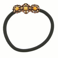 1928 Jewelry Copper Tone Mother of Pearl Ponytail Holder with Topaz Color Swarovski Elements Crystals