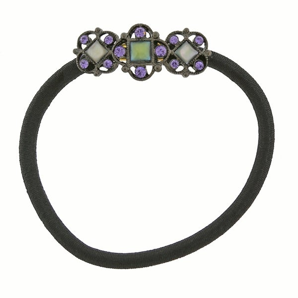 1928 Jewelry Black Tone Blue Mother of Pearl Ponytail Holder with Purple Swarovski Crystals
